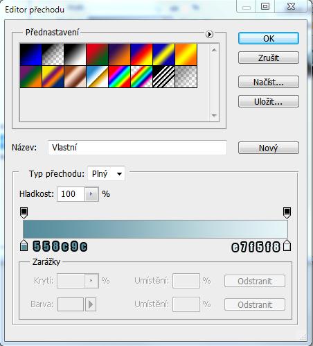 Nastavení barev přechodu