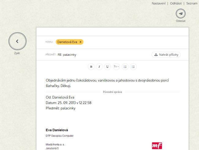 Nový email.cz - psaní emailu