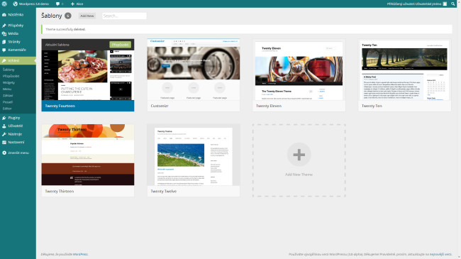 Wordpress administrace šablon - nová