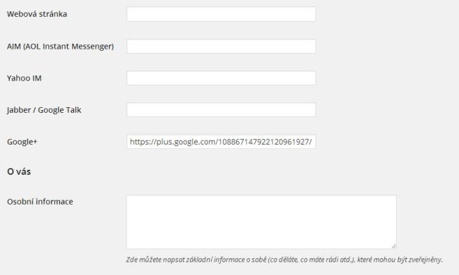 Zadání URL profilu Google+