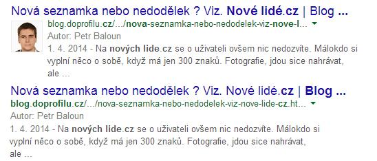 Google autorství změna ukázka