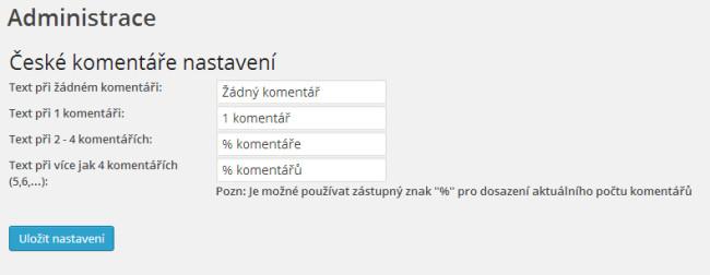 Administrace pluginu české komentáře