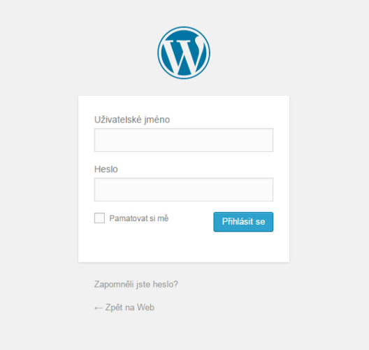 Wordpress - přihlašovací stránka