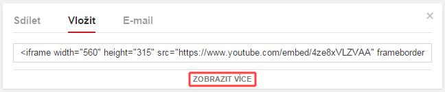 """Youtube záložka """"Vložit"""""""