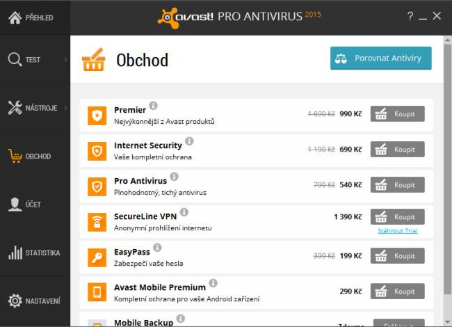 Normální cena v obchodě aplikace Avast