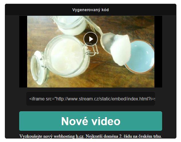 Video s kódem pro vložení