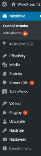 Správně zobrazení menu wordpress