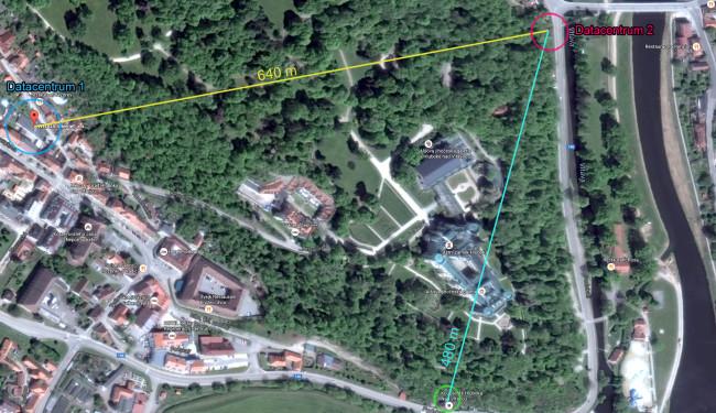 Koupaliště a datacentrum vzdálenost