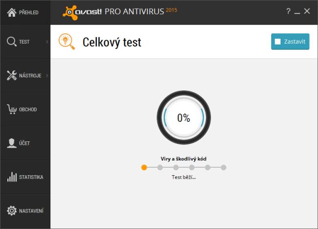 Průběh celkový testu Avast 2015