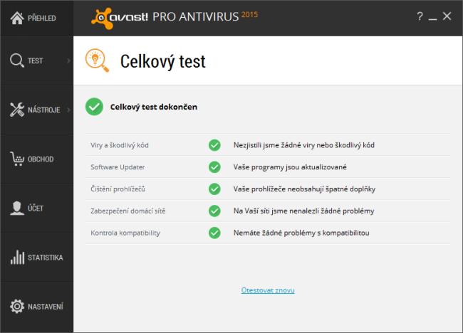 Avast 2015 výsledky celkového testu