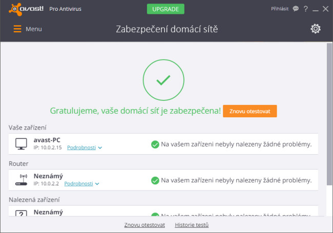 Avast 2016 test domácí sítě