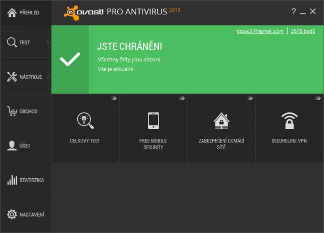 Úvodní obrazovka Avast 2015