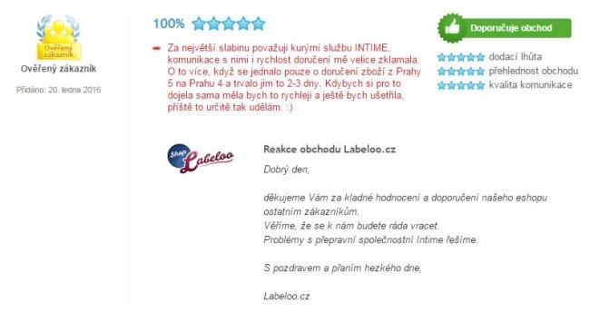 Heureka.cz zkušenost zákazníka s INTIME