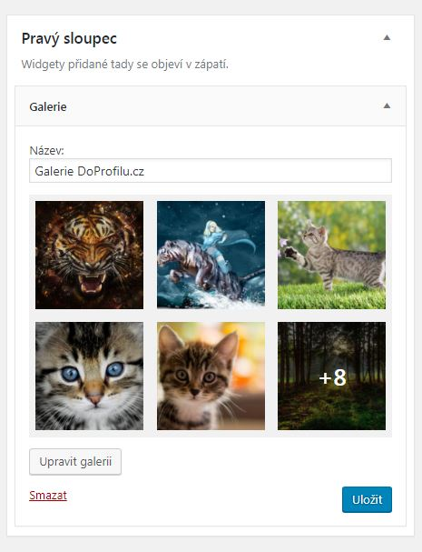 Náhled na nový widget wordpress galerie
