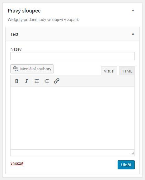 Nové tlačítko přidat média u textového widgetu